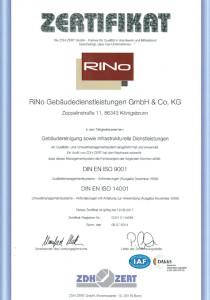 DIN EN ISO 9001:2008 und DIN EN ISO 14001:2009 Zertifikat RiNo 2014