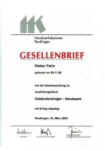 Kleber Petra Gesellenbrief