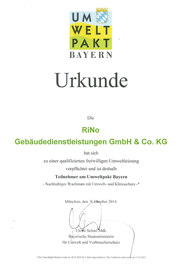 Urkunde riNo Umweltpakt Bayern
