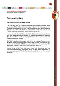 FCA-Pressemitteilung: RiNo reinigt weiterhin die WWK ARENA