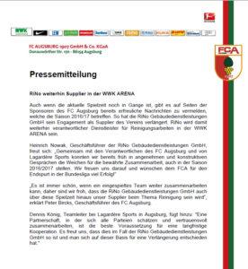 Pressemitteilung RiNo weiterhin Supplier in der WWK Arena