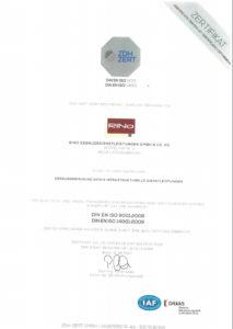 DIN EN ISO 9001 und 14001 Zertifikat RiNo 2017