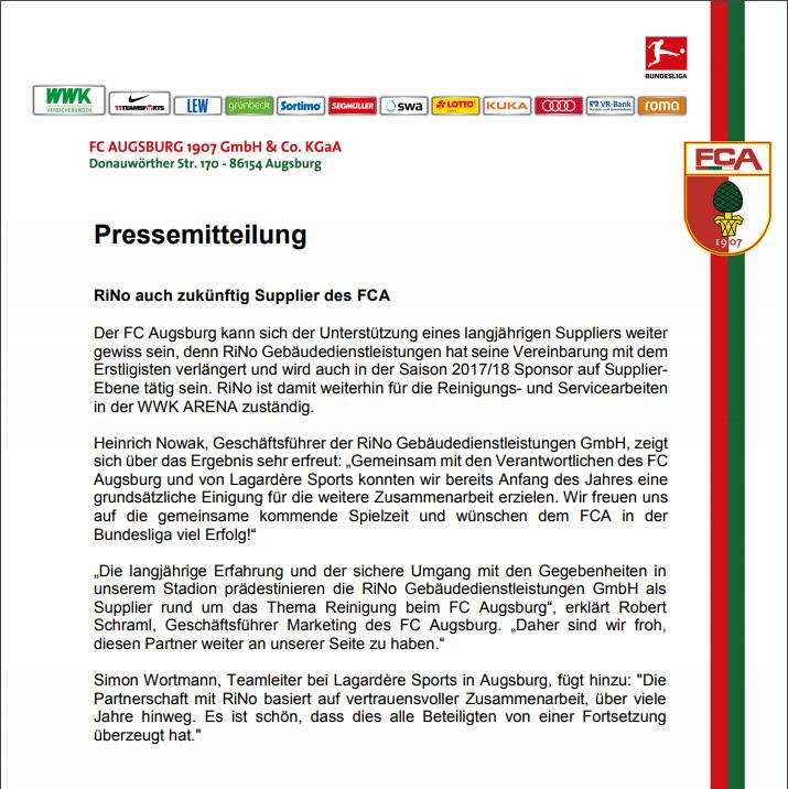 Pressemeitteilung des FCA - RiNo